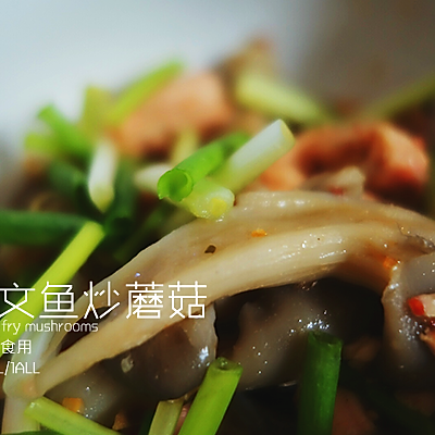 三文鱼炒蘑菇