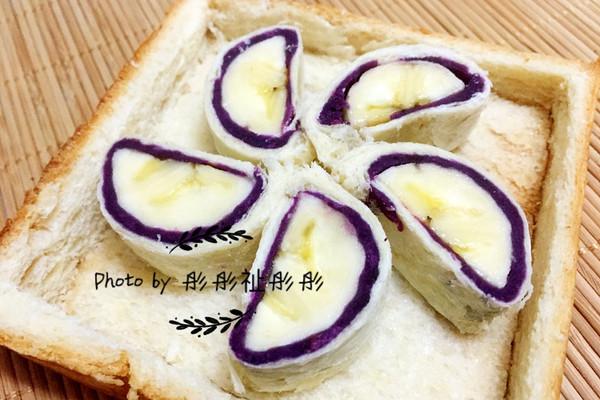 香蕉紫薯卷#急速早餐#的做法