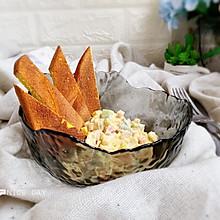 #肉食者联盟#鸡蛋火腿沙拉佐南瓜面包