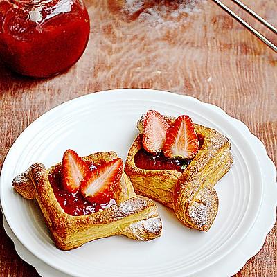 26张分解图手工打造草莓丹麦面包