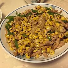 青椒玉米腐竹炒肉