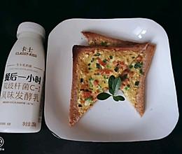快手减脂早餐#低脂无油无糖的蒜香葱花火腿土司的做法