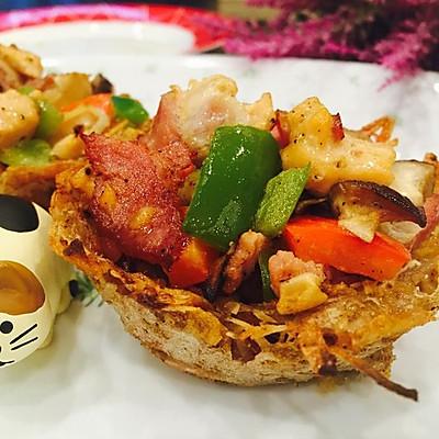 三文鱼培根土豆塔