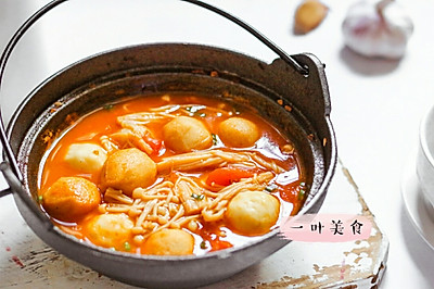 番茄金针菇丸子煲