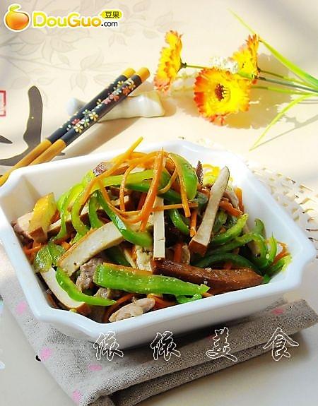 香干青椒炒肉丝---春季美食的做法