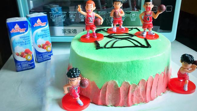 #安佳儿童创意料理#篮球主题奶油蛋糕的做法
