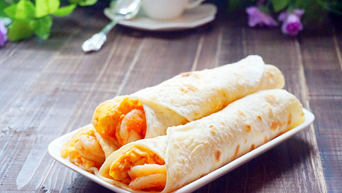 鲜虾鸡蛋卷饼~美味卷起来