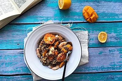 #做道懒人菜,轻松享假期# 藜麦甜虾水果沙拉