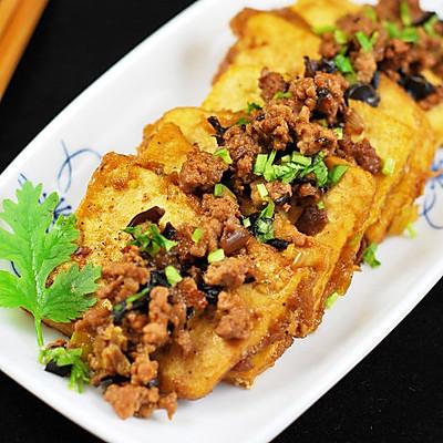 肉末虎皮豆腐
