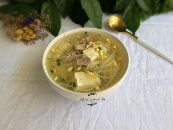 黄豆芽肉片汤的做法