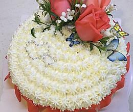 美美哒鲜花蛋糕(原味戚风底胚,减糖版)的做法