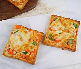 无需揉面❗️零失败❗️懒人版吐司披萨的做法