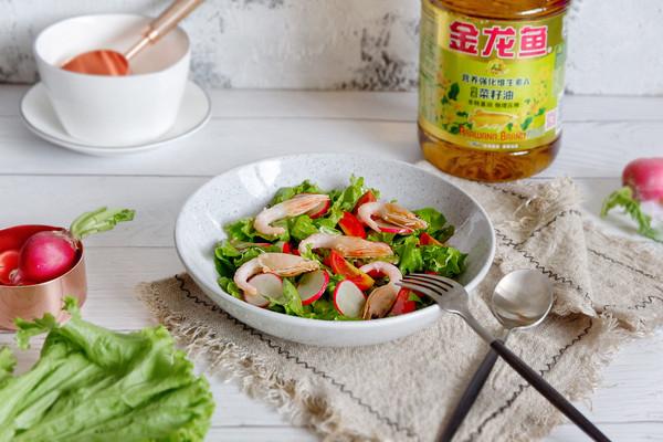 甜虾蔬菜沙拉的做法