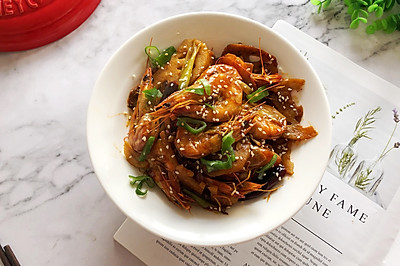 砂锅版干锅基围虾
