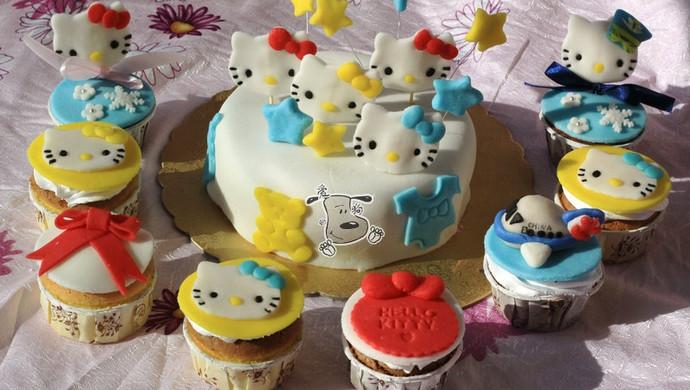 hello kitty猫 造型 翻糖蛋糕+杯子蛋糕