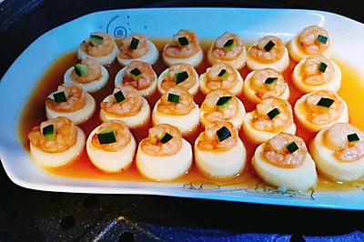 家常菜-日本豆腐蒸蝦仁-擺盤很美