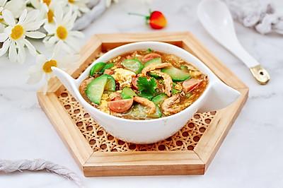 黄瓜火腿磷虾鸡蛋汤