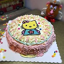 第一次做裱花+转印的奶油生日蛋糕(8寸)