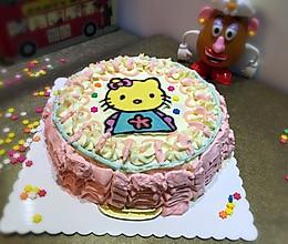 第一次做裱花+转印的奶油生日蛋糕(8寸)的做法