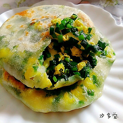 韭菜鸡蛋馅饼(半烫面)