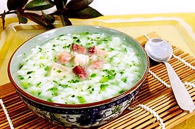 火腿青菜粥#浪漫樱花季