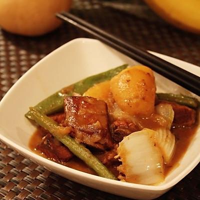 排骨豆角土豆白菜一锅炖