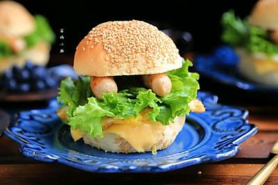 #硬核菜谱制作人#鸡肉肠汉堡