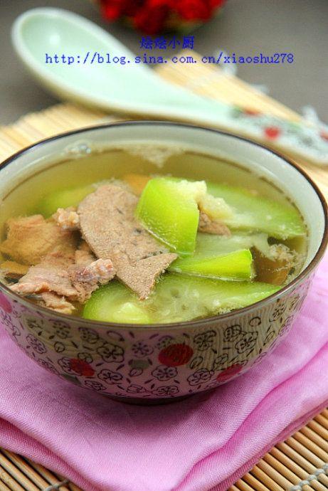 丝瓜猪肝瘦肉汤的做法