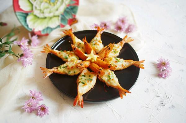 花开富贵芝士焗大虾的做法