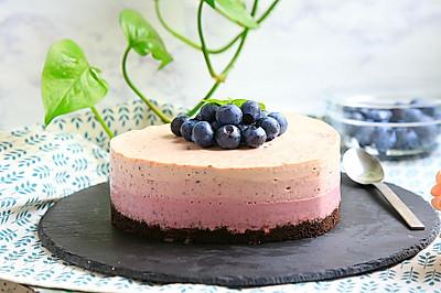 渐变色蓝莓冻芝士蛋糕