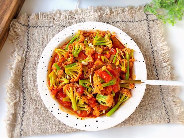 低脂美味~番茄炒花菜的做法