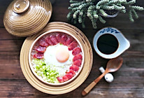 广式腊肠窝蛋土锅煲仔饭的做法