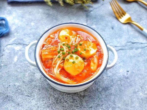 茄汁日本豆腐金针菇的做法