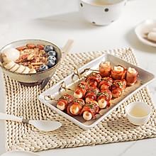#我们约饭吧#韩式培根年糕串+水果燕麦粥