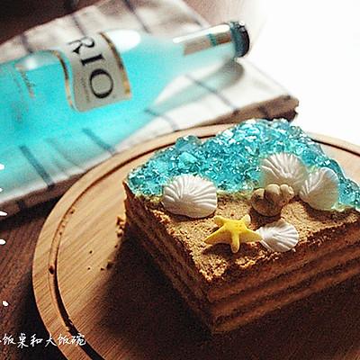 海洋风木糠蛋糕——四寸