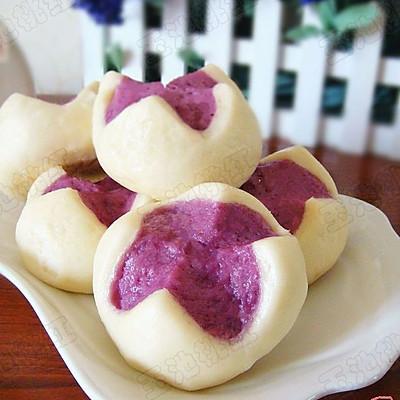 很惊艳的紫薯开花馒头