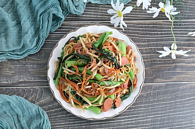 快手炒面,主食蔬菜一锅出,营养又美味