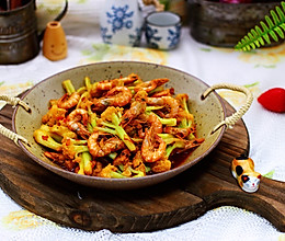 辣爆菜花海虾的做法