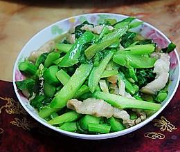 五花肉炒菜芯 #母亲节,给妈妈做道菜#的做法