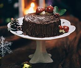 #令人羡慕的圣诞大餐#圣诞树桩蛋糕的做法