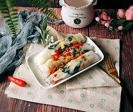 #硬核菜谱制作人#肉粒菠菜肠粉的做法