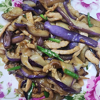 家常菜:茄子炒肉丝(少油保色法)