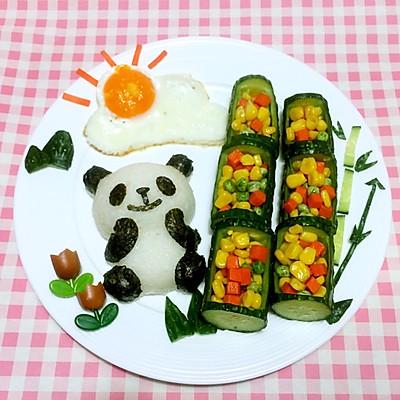 """暖阳下""""小熊猫吃竹子""""儿童餐"""