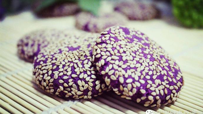 紫薯芝麻小饼 | 软糯清甜,无论大人还是孩子都适合!