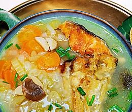 原味三文鱼头西餐素高汤三高#好吃不上火#蜜桃爱营养师私厨的做法