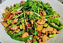 香辣毛豆炒肉的做法
