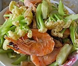 大虾炒菜花的做法