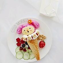 【原创】可爱甜筒粉兔子饭团【治愈宝宝不爱吃饭】