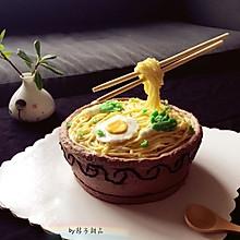 长寿面碗面生日蛋糕(附奶酪奶油霜做法)#有颜值的实力派#