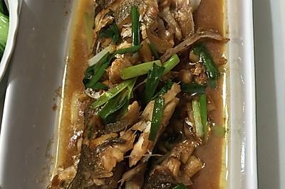 葱姜烧海鲈鱼